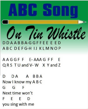 Abc Music Notes On Tin Whistle-Childrens Song