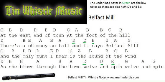 Belfast Mill Tin Whistle Music