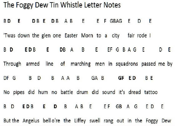 Foggy Dew Letter Notes On Whistle