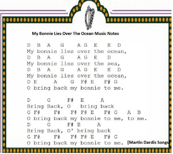 My bonny lies over the ocean tin whistle music