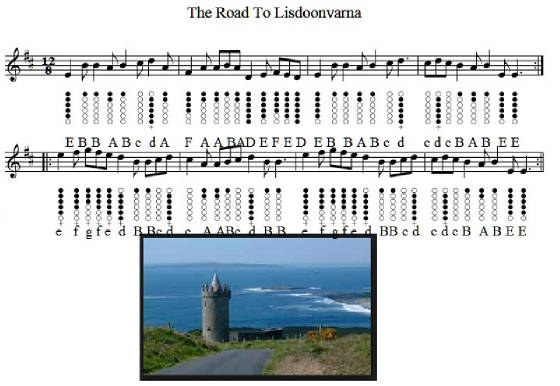 The road to Lisdoonvarna tin whistle music