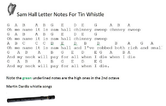 Sam Hall Letter Notes For Tin Whistle