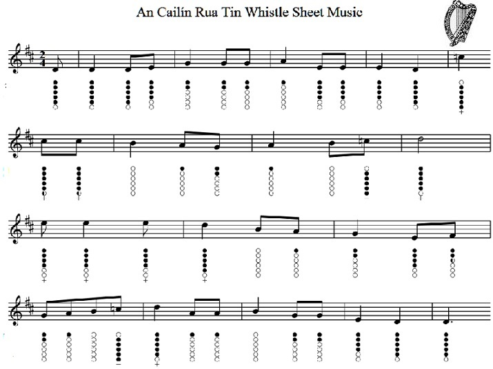 An Cailín Rua Tin Whistle Sheet Music