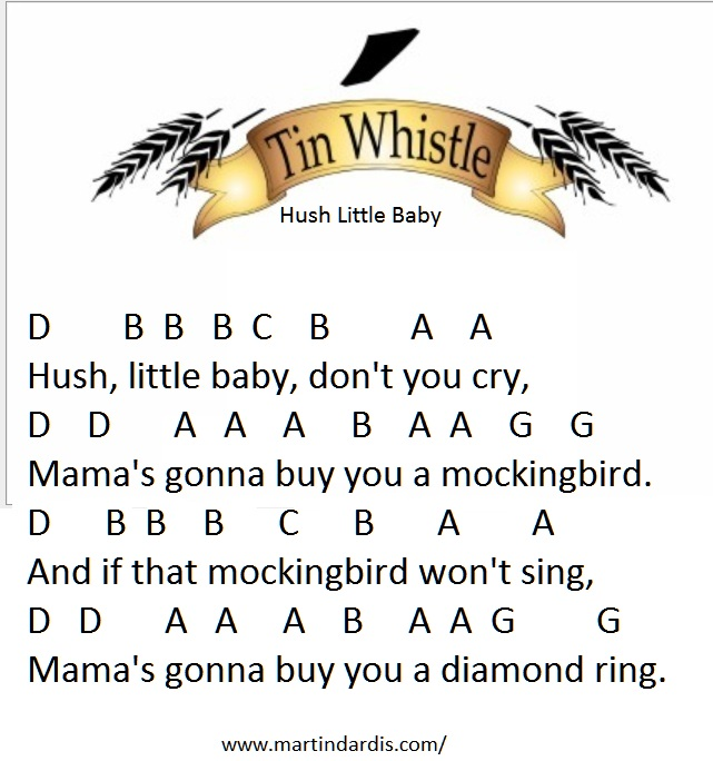 Hush Little Baby Tin Whistle Music