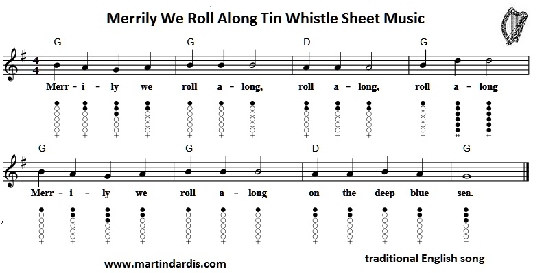 Merrily We Roll Along Tin Whistle Music