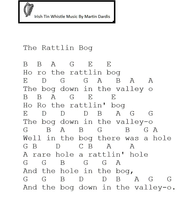 Rattlin Bog Letter Notes On Whistle