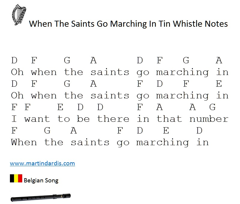When the saints go marching in tin whistle music